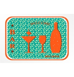 Bar - label with cocktail vector