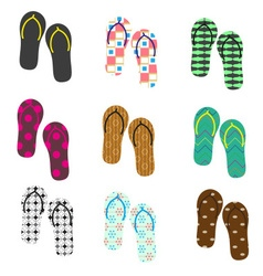 Colorful variation of flip flops summer shoes vector
