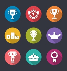 Set of prizes and trophy signs vector