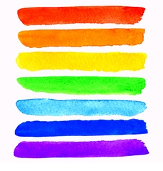 Set of 7 colorful watercolor rainbow brush strokes vector