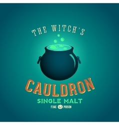 The boiling and glowing witch cauldron vector