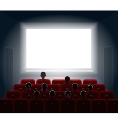 People watching movie at cinema hall film screen vector