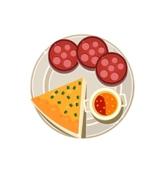 Pizza sausage and soup served food vector