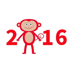 Cute monkey new year 2016 baby greeting card vector