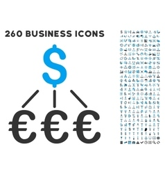 Dollar euro links icon with flat set vector