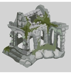 Abandoned ruins of ancient houses medieval style vector