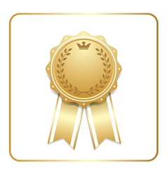 Award ribbon gold icon white laurel wreath vector