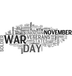 a short history lesson on veterans day text word vector image