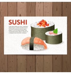 Advertising sushi card vector