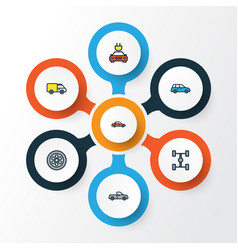 Auto colorful outline icons set collection of car vector