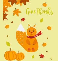 autumn background with cute squirrel and text vector image vector image