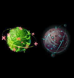 cartoon planets for game design set vector image