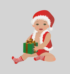 christmas baby with gift box xmas child vector image