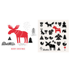 christmas in scandinavian style vector image vector image