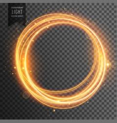 circular golden light effect transparent vector image vector image