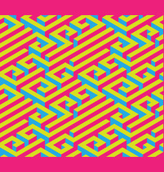 colorful isometric maze seamless ornament bright vector image vector image