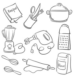 equipment kitchen various doodle style vector image