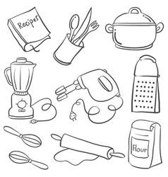 Equipment kitchen various doodle style vector