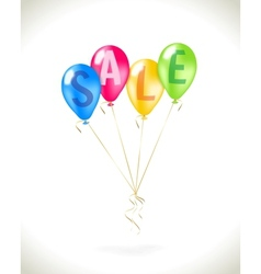 Flying balloons with sale promotion vector