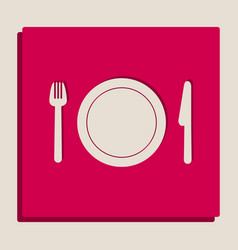 Fork plate and knife grayscale version vector