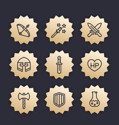 Game line icons set rpg fantasy items swords vector