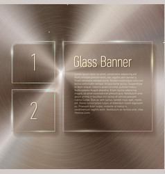 glass banner set on steel circular metallic vector image