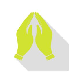 Hand icon prayer symbol pear icon vector