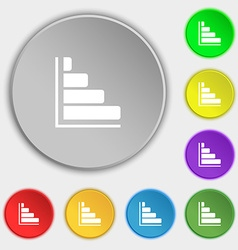 Infographic icon sign symbol on eight flat buttons vector