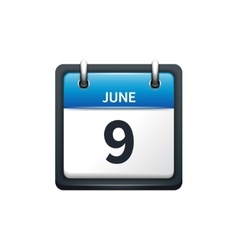 June 9 calendar icon flat vector