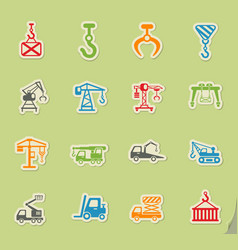 lifting machines icon set vector image