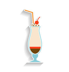 milkshake with chocolate whipped cream and a vector image