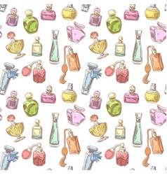 Perfume bottles hand drawn seamless background vector