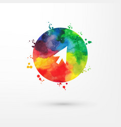 Rainbow grungy watercolor arrow icon inside vector
