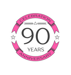 Realistic ninety years anniversary celebration vector