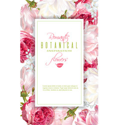 romantic flowers vertical frame vector image vector image