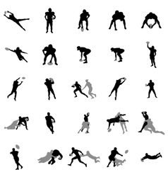 Rugby players silhouette set vector
