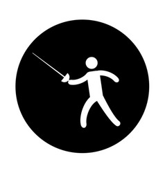 silhouette of athlete practicing fencing vector image vector image