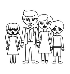 sketch silhouette family group with parents in vector image