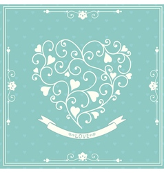 Wedding invitation with decorative heart vector