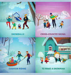 Winter recreation concept icons set vector