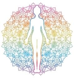 Women silhouette Yoga mountain pose Tadasana vector image vector image