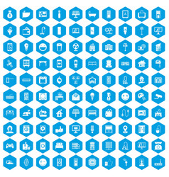 100 smart house icons set blue vector