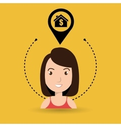Woman house pin location vector