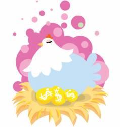chicken golden egg vector image