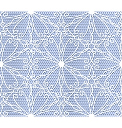 Seamless white lace pattern on blue background vector