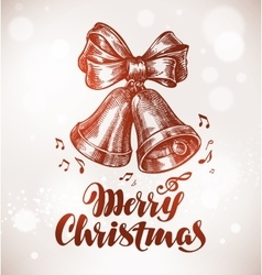 Merry christmas xmas bells with bow sketch vector