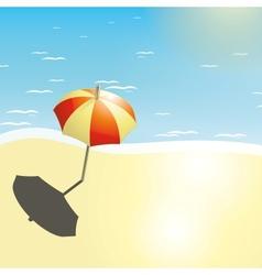 Beach and umbrella in a summer design vector image