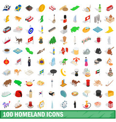 100 homeland icons set isometric 3d style vector