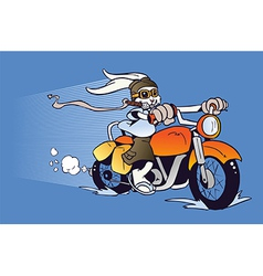 Motorized cartoon easter bunny vector