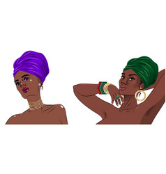 African american black beauty women portrait vector